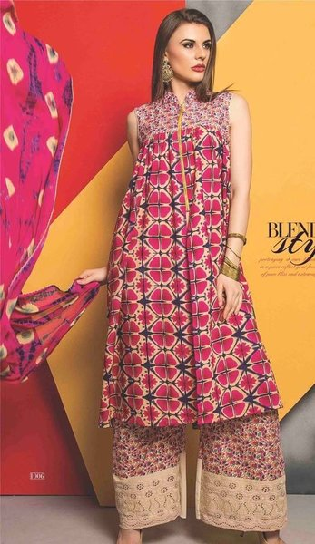 Designer Cotton Beige Printed Dress Material with Chikankari Palazo Fabric Gul1006