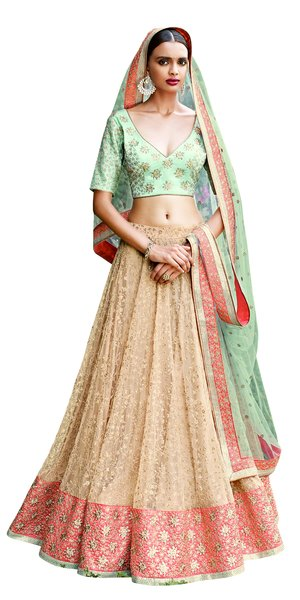 Heavy Wedding   Net Peach Green Lehenga Choli SC5055