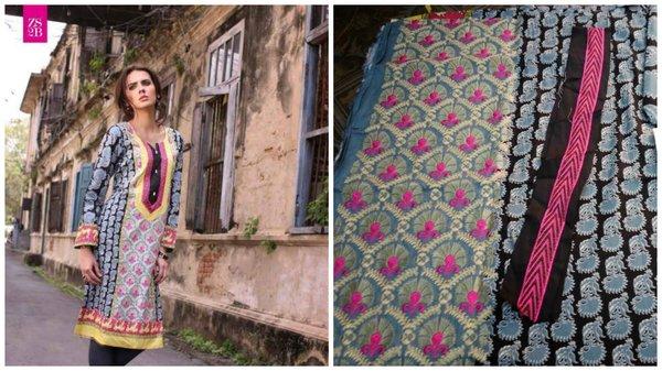 Designer Pakistani Mahi Zara Unstitched Kurti Kurta Embroidered Fabric Only ZS2B