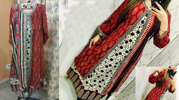 Designer Selfie Maroon Double Layer Block Print Cotton Long Kurta Kurti Dress NV993
