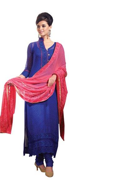 Designer Navy blue Georgette Delicate embroidered Dress material SC5025