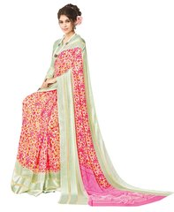 Pink Satin Border Georgette Saree SC19812