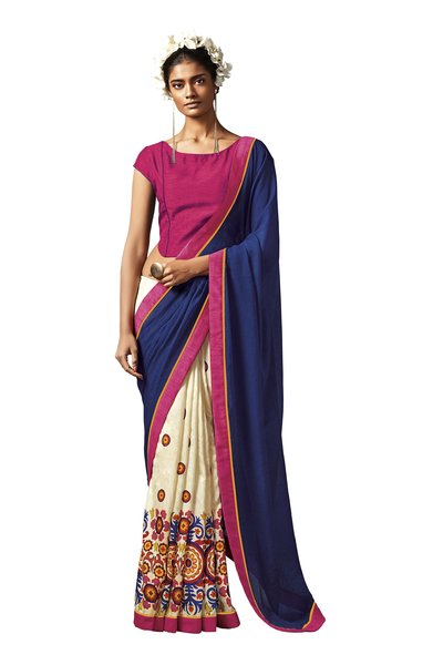 Blue Pink Printed Cotton Silk Saree