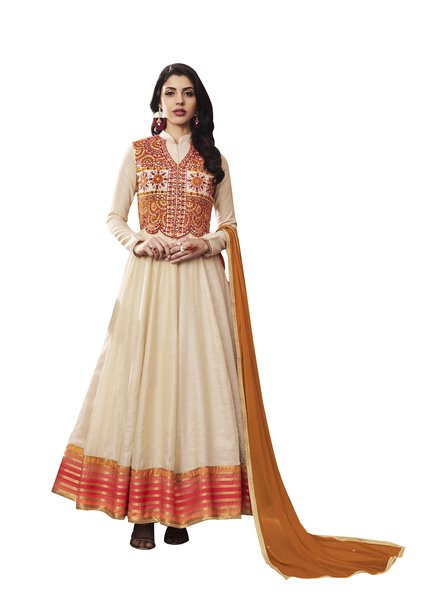 Designer Beige Silk Semi Stitched Dress Material SC3065