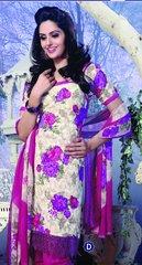 Spun Cotton Pink & Cream Lacer Salwar Kameez Churidar Dress Meterial SC 1047D