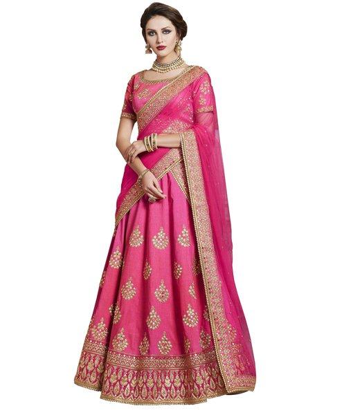 Designer Embroidered Heavy Pink Handloom Silk Lehenga Saree SC4088