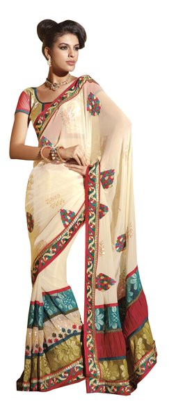 Cr�me Chiffon Embroidered IndianSaree Sari SC6116