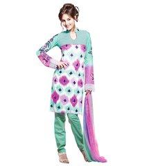 Cotton Turquoise Salwar Kameez Churidar Fabric SC8131B