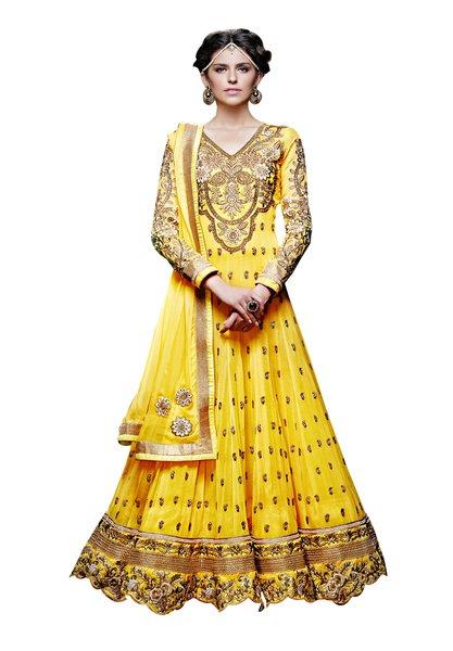 Designer Long Yellow Georgette Anarkali SC309