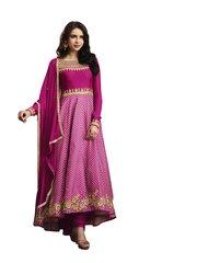 Designer Semi Stitched Pink Slub Satin Dress Material SC3062