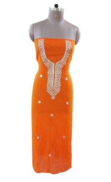 Jaipuri Mothra Georgette Gotta Patti work Orange Kurti Kurta Fabric GP84