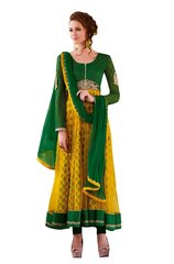 Designer Yellow Green Net Anarkali With Printed Lining Dress Material SC3008A