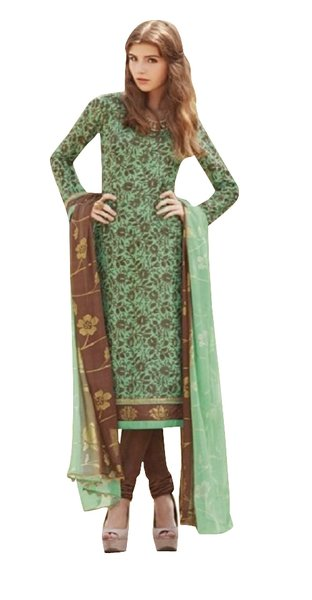 Designer Bhagalpuri printed Green Salwar kameez Material SC6392B
