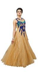 Designer Semi Stitched Western Dress BeigeNet Long Gown SC1046