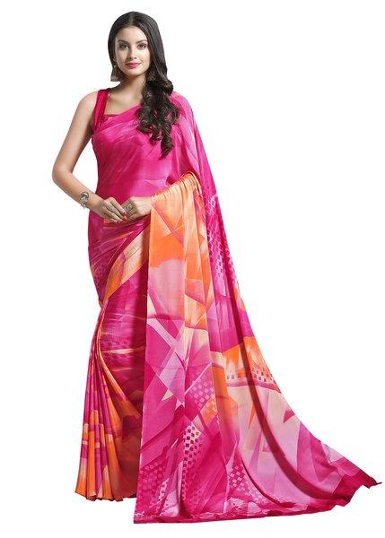 Designer Pink Faux Crepe Abstract Print Saree VAS7104B