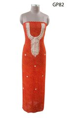 Jaipuri Lehariya Georgette Gotta Patti work Orange Kurti Kurta Fabric GP82