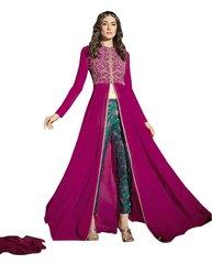 Designer Pink Georgette Long Semi stitch Anarkali Partywear Dress material SC4010