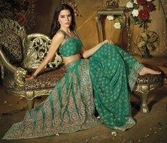 Designer Green Schiffli Embroidered Net saree SC9010A
