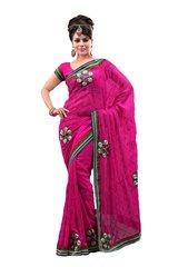 Designer Deep Pink Georgette Embroidered Saree SC786A