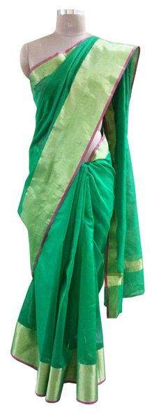 Green Kota Cotton Zari Border Saree with Running Blouse