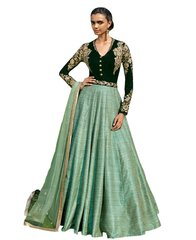 Designer Semi Stitched Green Fusion Style Khadi Dress Material