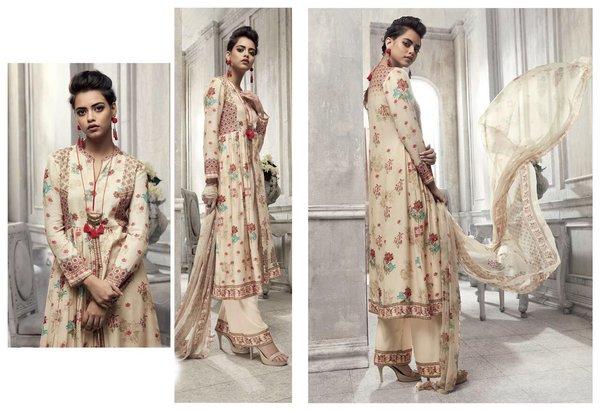 Designer Beige Printed Heavy Pashmina Trouser Salwar kameez Material