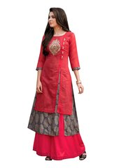 Designer Red Rayon Cotton Kora Silk Layered Embroidered Long Kurta Dress Size XL SCKSD209
