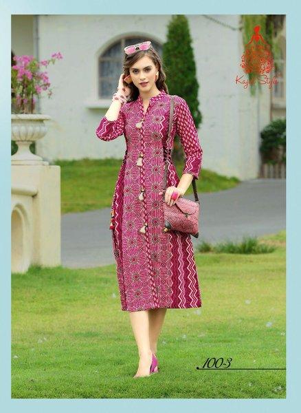 Designer Pink Cotton Printed Long Kurti Kurta Dress Style Size 42 XL SC1003