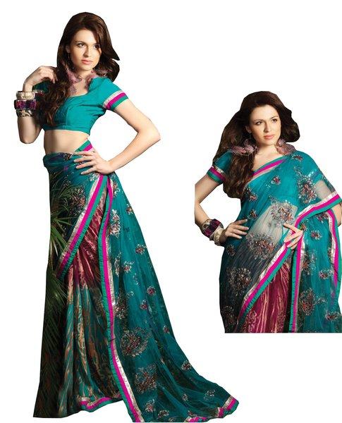 Designer Faux Georgette Net Embroidered Saree SC1439