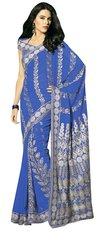 Designer Navy Blue Schiffli Embroidered Georgette saree SC9019A