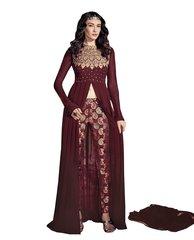 Designer Maroon Georgette Long Semi stitch Anarkali Partywear Dress materialSC4003