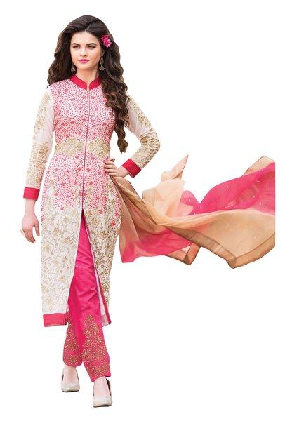 Off white Georgette Semi Stitch Dress Material SC307