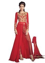 Designer Red Georgette Long Semi stitch Anarkali Partywear Dress material SC4004