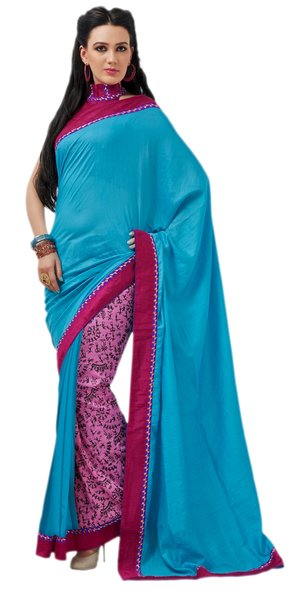 Designer Bhagalpuri Cotton Silk Printed and Lacer Border Saree SC1602