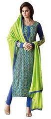 Designer Blue Embellished Bhagalpuri Dress Material