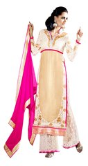 Off White Georgette Net Cream Straight Cut Dress Material
