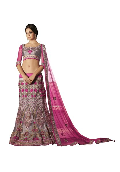 Net Three Piece Lehenga Choli Dupatta Fabric Only SC1815
