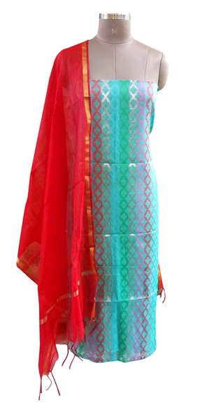 Designer Banarsi Green Cotton Silk Weaven Shalwar Kameez Dress Material BSD13