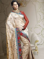 Designer Beige Dupion Embroidered Saree SC1518