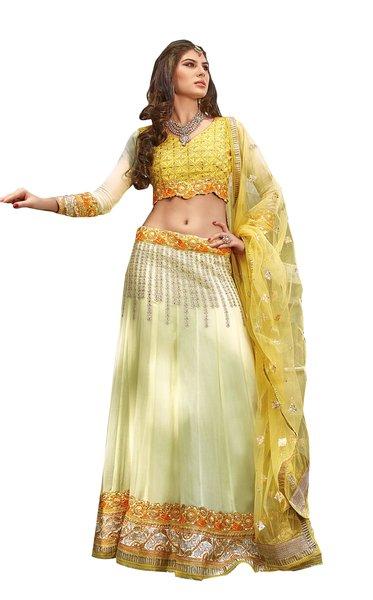 Cream Yellow Georgette Lehenga Choli Dupatta Fabric Only  SC1123