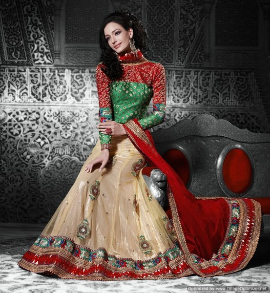 Red Beige Net Lehenga Choli Dupatta Fabric Only SC514