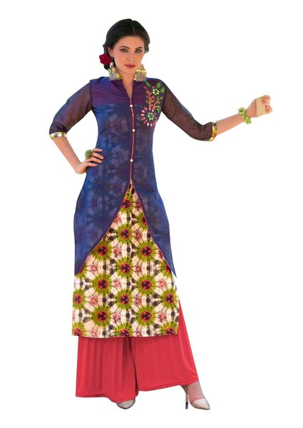 Designer Blue Cream Rayon Cotton Kora Silk Layered Embroidered Long Kurta Dress Size XL SCKSD204