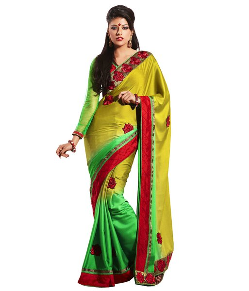 Green Border Embroidered Crepe Saree SC32012