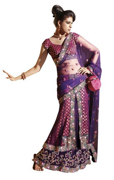 Pink Violet Net Jequard Embroidered Lehenga Saree Sari SC6111