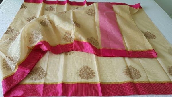 Designer Beige Kota Cotton Embroidered Saree KCS103