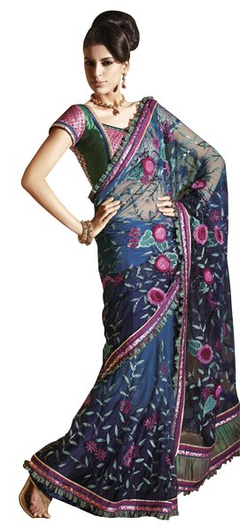 Net Crepe Blue Embroidered Indian Saree Sari SC6117