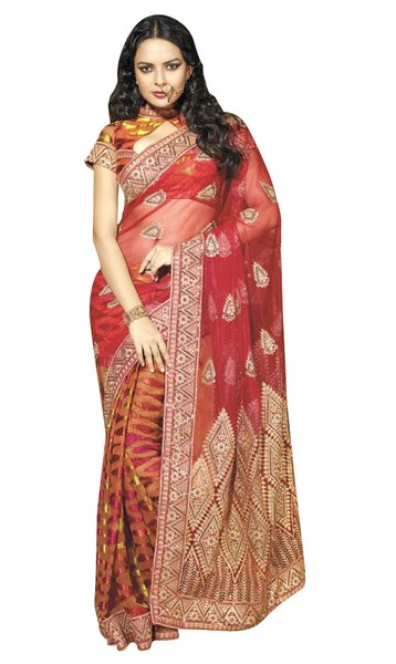 Designer Maroon and Orrange Schiffli Embroidered Net saree SC9011A