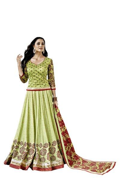 Designer Stitched Green Chanderi Lehenga Ghagra Choli Dupatta Skirt Crop Top SIZE L 40 SC1011