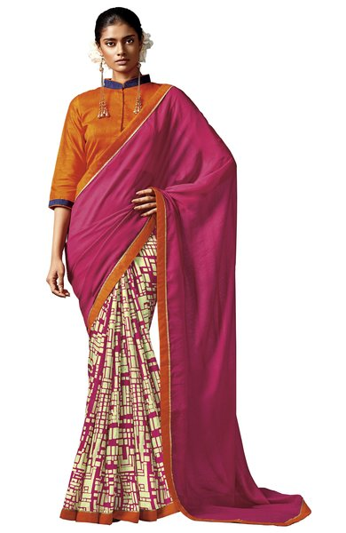 Pink Matrix Printed Cotton Silk Saree