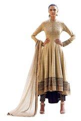Designer Semi Stitched Beige Fusion Style Khadi Dress Material